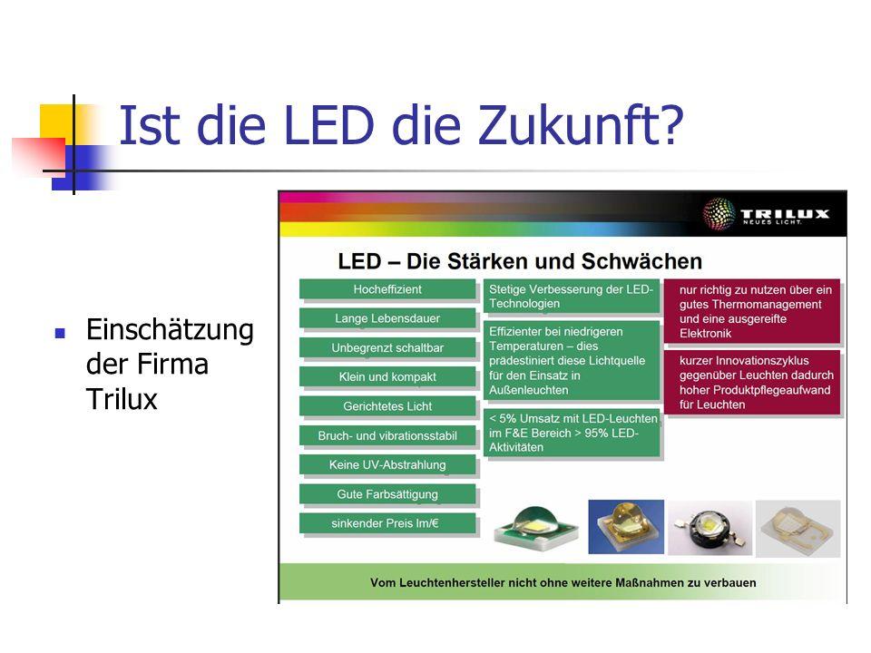 Aspekte der Kühlung Geringe Temperaturdifferenzen LED max 85°, Umgebung bis zu 35° Trotz geringer Leistung große Kühlflächen notwendig Abstrahlung im tiefen Infrarot