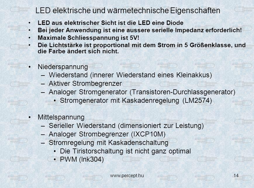 www.percept.hu14 LED aus elektrischer Sicht ist die LED eine Diode Bei jeder Anwendung ist eine aussere serielle Impedanz erforderlich.