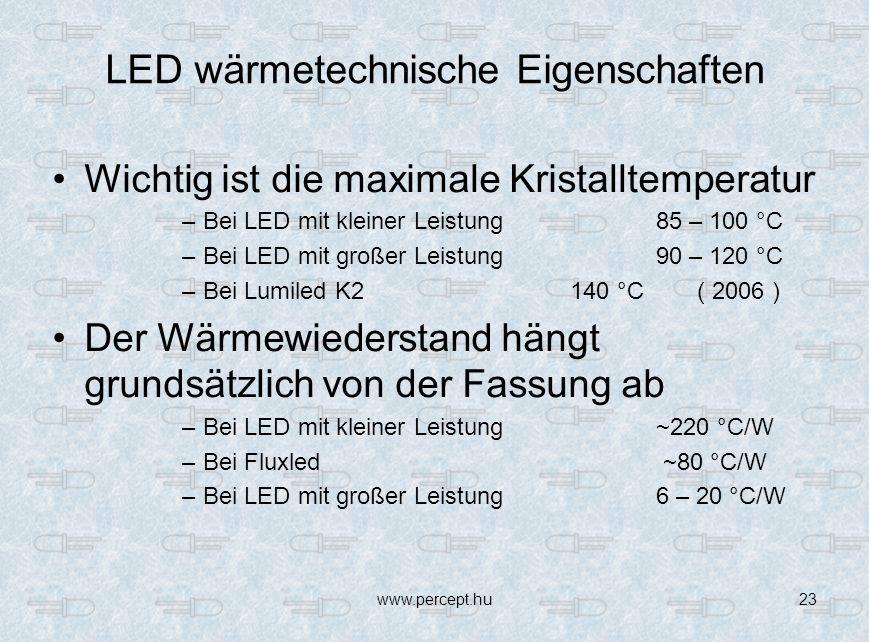 www.percept.hu23 LED wärmetechnische Eigenschaften Wichtig ist die maximale Kristalltemperatur –Bei LED mit kleiner Leistung 85 – 100 °C –Bei LED mit großer Leistung 90 – 120 °C –Bei Lumiled K2 140 °C ( 2006 ) Der Wärmewiederstand hängt grundsätzlich von der Fassung ab –Bei LED mit kleiner Leistung ~220 °C/W –Bei Fluxled ~80 °C/W –Bei LED mit großer Leistung 6 – 20 °C/W