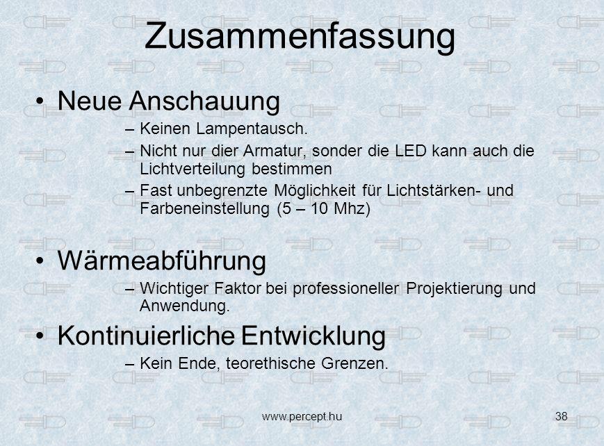 www.percept.hu38 Zusammenfassung Neue Anschauung –Keinen Lampentausch.