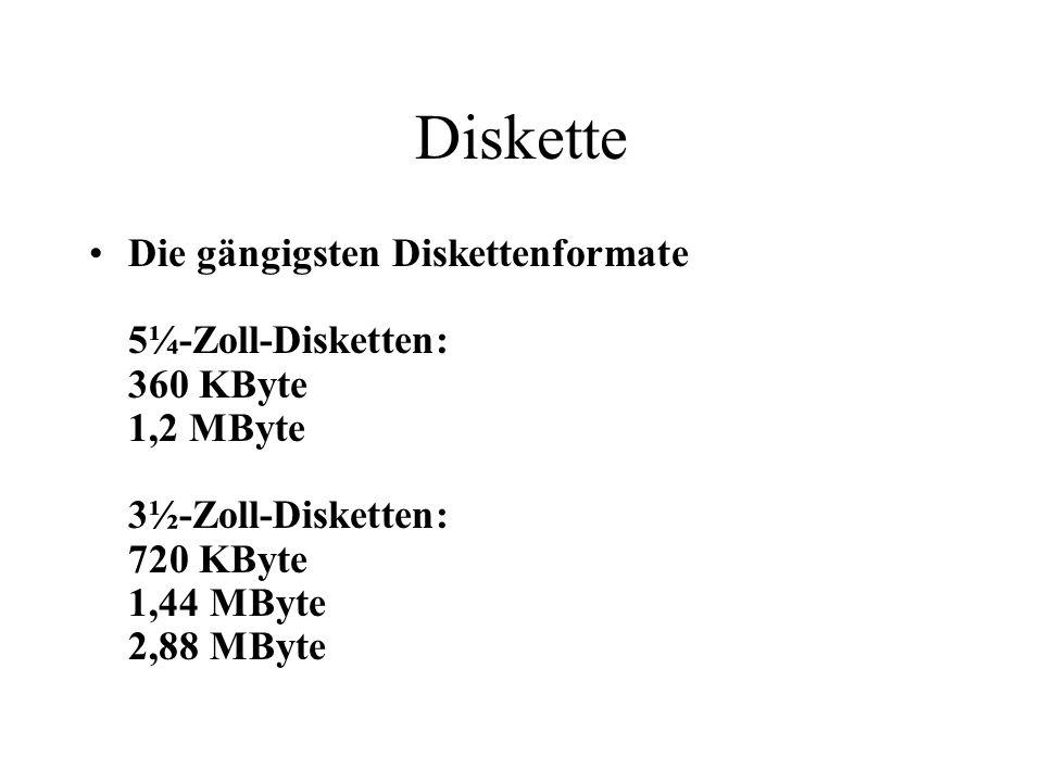 Diskette Die gängigsten Diskettenformate 5¼-Zoll-Disketten: 360 KByte 1,2 MByte 3½-Zoll-Disketten: 720 KByte 1,44 MByte 2,88 MByte