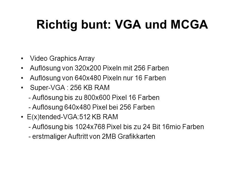 Richtig bunt: VGA und MCGA Video Graphics Array Auflösung von 320x200 Pixeln mit 256 Farben Auflösung von 640x480 Pixeln nur 16 Farben Super-VGA : 256