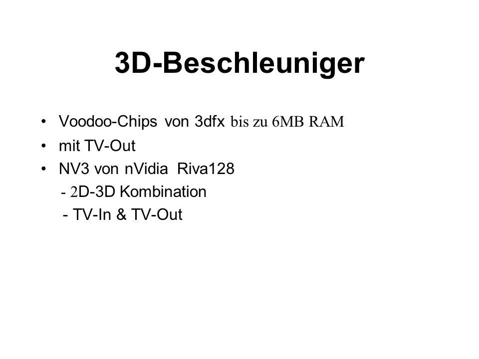 3D-Beschleuniger Voodoo-Chips von 3dfx bis zu 6MB RAM mit TV-Out NV3 von nVidia Riva128 - 2 D-3D Kombination - TV-In & TV-Out