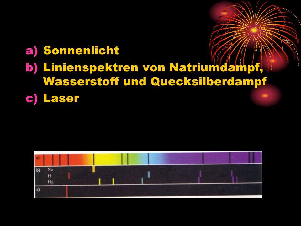 a)Sonnenlicht b)Linienspektren von Natriumdampf, Wasserstoff und Quecksilberdampf c)Laser