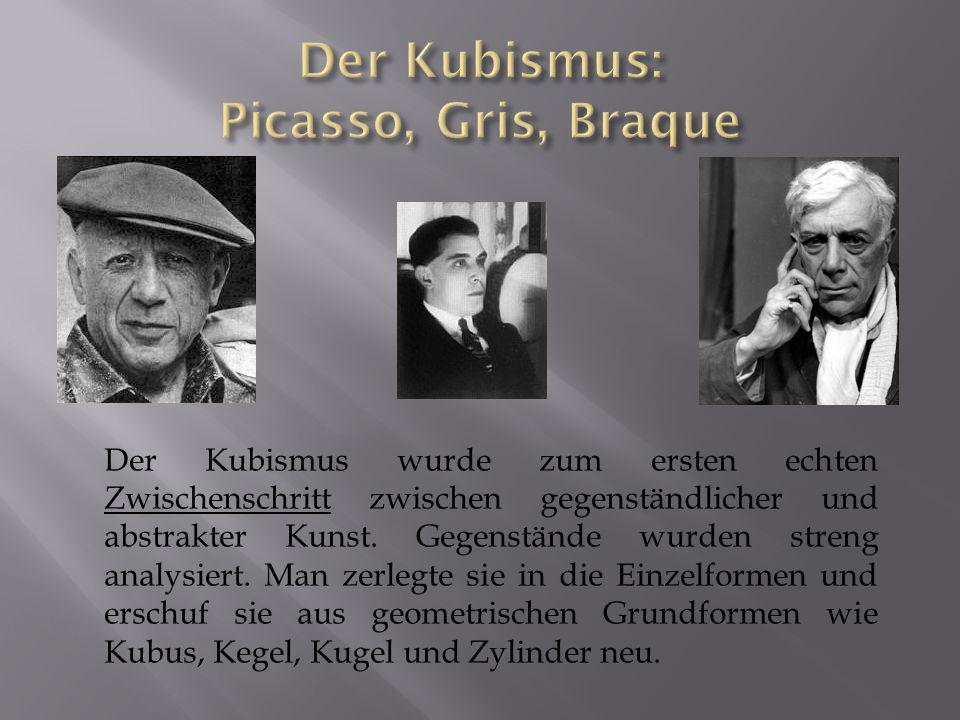 Der Kubismus wurde zum ersten echten Zwischenschritt zwischen gegenständlicher und abstrakter Kunst. Gegenstände wurden streng analysiert. Man zerlegt