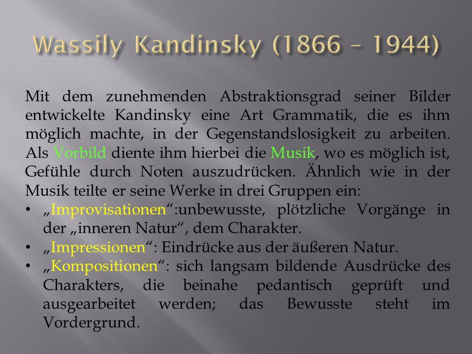 Mit dem zunehmenden Abstraktionsgrad seiner Bilder entwickelte Kandinsky eine Art Grammatik, die es ihm möglich machte, in der Gegenstandslosigkeit zu