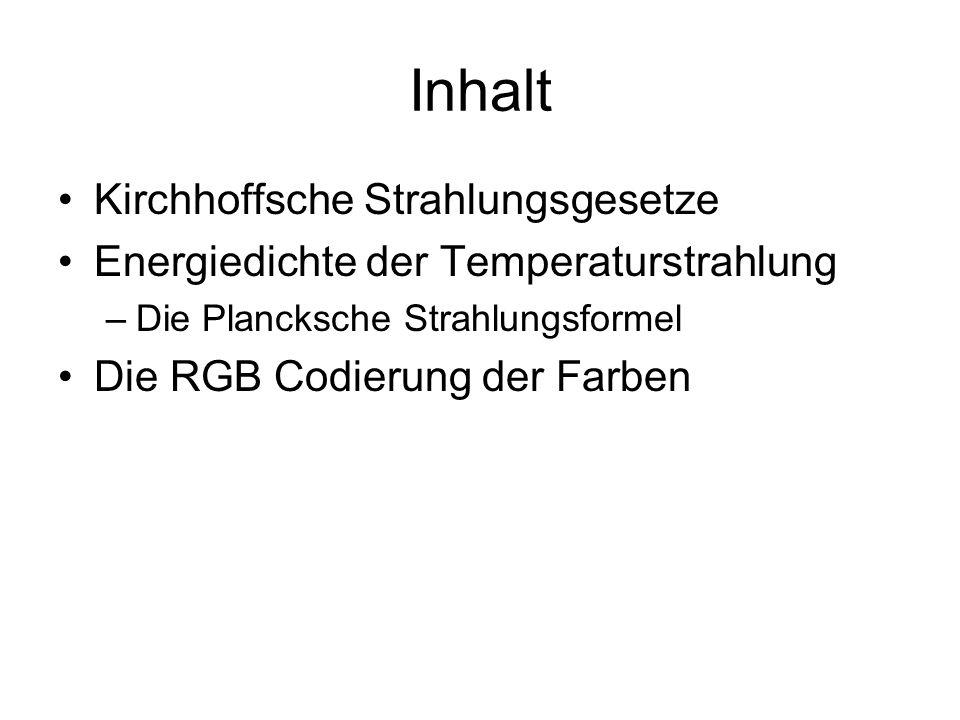 Inhalt Kirchhoffsche Strahlungsgesetze Energiedichte der Temperaturstrahlung –Die Plancksche Strahlungsformel Die RGB Codierung der Farben