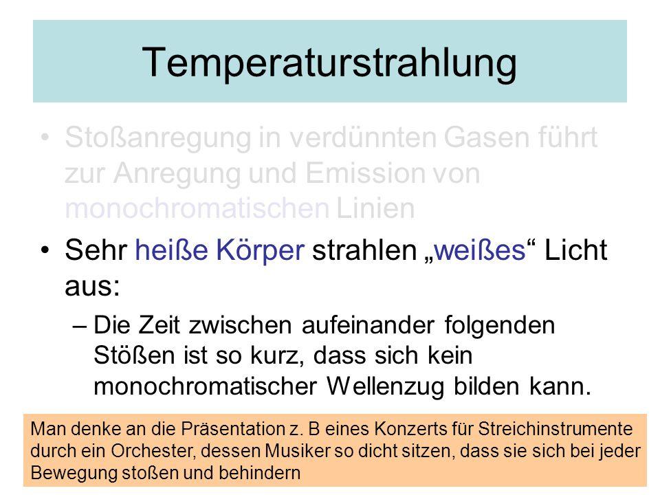 Temperaturstrahlung Stoßanregung in verdünnten Gasen führt zur Anregung und Emission von monochromatischen Linien Sehr heiße Körper strahlen weißes Li