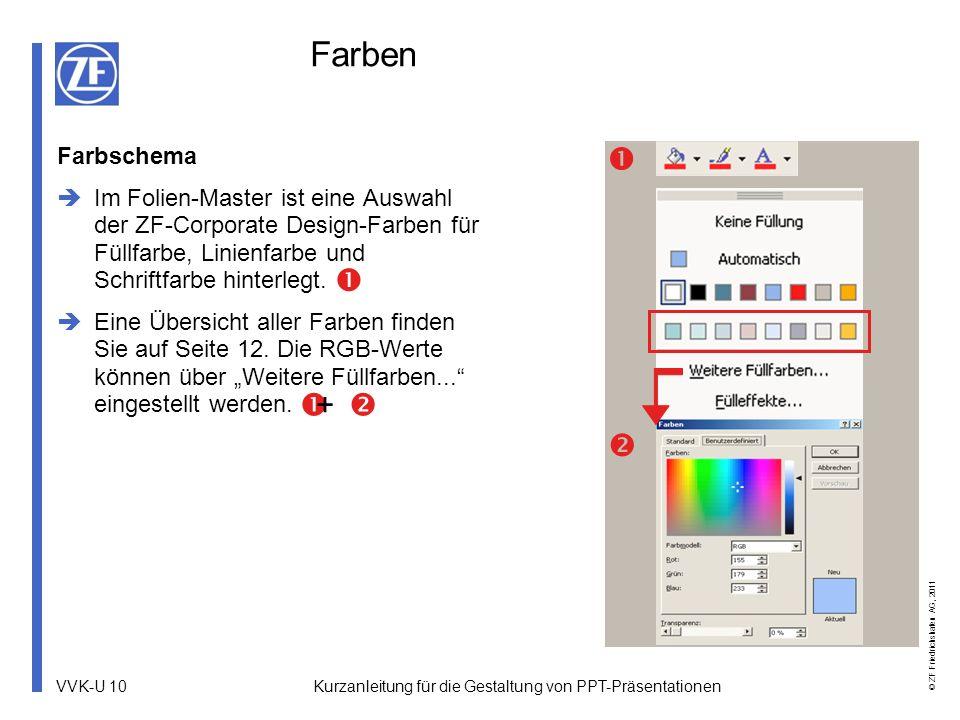 VVK-U 10 © ZF Friedrichshafen AG, 2011 Kurzanleitung für die Gestaltung von PPT-Präsentationen Farben Farbschema Im Folien-Master ist eine Auswahl der