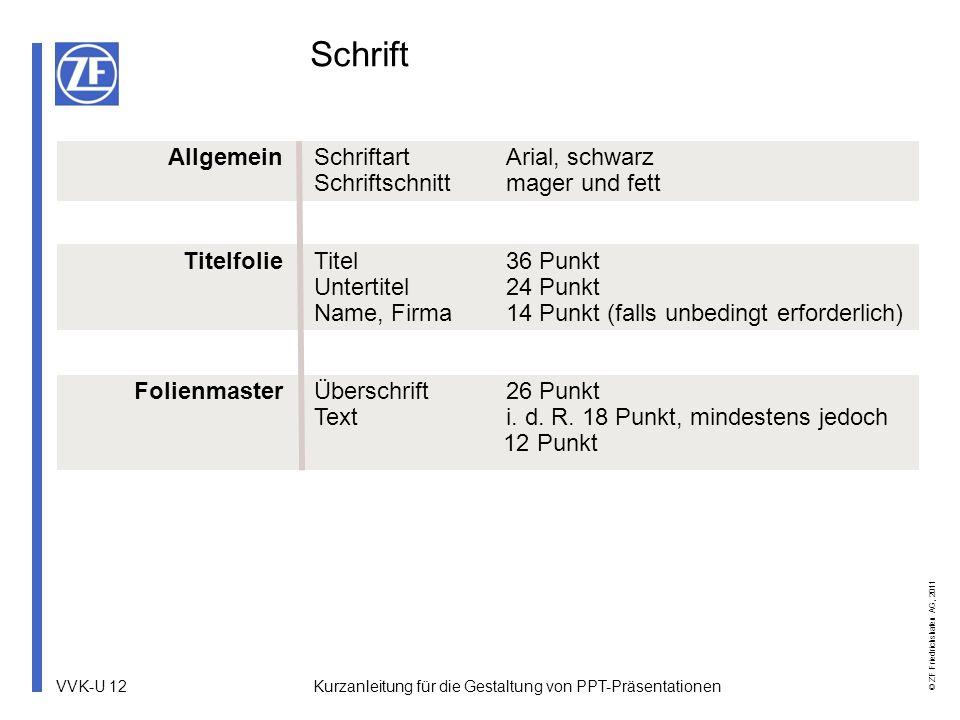 VVK-U 12 © ZF Friedrichshafen AG, 2011 Kurzanleitung für die Gestaltung von PPT-Präsentationen Schrift Allgemein Titelfolie Folienmaster SchriftartAri