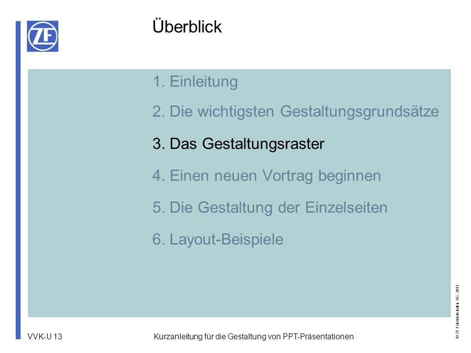 VVK-U 13 © ZF Friedrichshafen AG, 2011 Kurzanleitung für die Gestaltung von PPT-Präsentationen 1. Einleitung 2. Die wichtigsten Gestaltungsgrundsätze