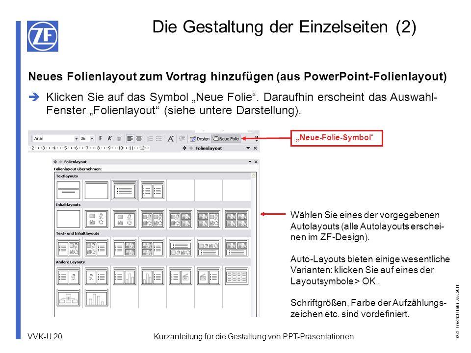 VVK-U 20 © ZF Friedrichshafen AG, 2011 Kurzanleitung für die Gestaltung von PPT-Präsentationen Die Gestaltung der Einzelseiten (2) Wählen Sie eines de