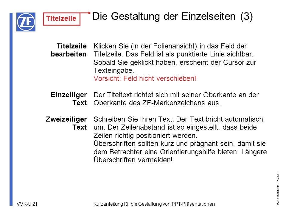 VVK-U 21 © ZF Friedrichshafen AG, 2011 Kurzanleitung für die Gestaltung von PPT-Präsentationen Die Gestaltung der Einzelseiten (3) Titelzeile bearbeit