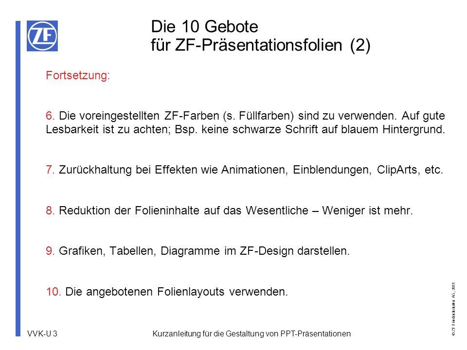 VVK-U 14 © ZF Friedrichshafen AG, 2011 Kurzanleitung für die Gestaltung von PPT-Präsentationen Das Gestaltungsraster Hilfslinie 5,80 Obere Begrenzung Hilfslinie 11,20 Äußerste Begrenzung links Hilfslinie 4,40 Layout-Hilfslinie Abteilungskürzel, Seitenzahl Hilfslinie 11,60 Begrenzung rechts Hilfslinie 7,60 Untere Begrenzung Vortragstitel Kurzform Hilfslinie 8,40 Hilfslinie 1,00 Obere Begrenzung des nicht vollflächigen Titelbilds Hilfslinie 8,80 Untere Begrenzung Titelbild Hilfslinie 5,80 Obere Begrenzung des vollflächigen Titelbilds