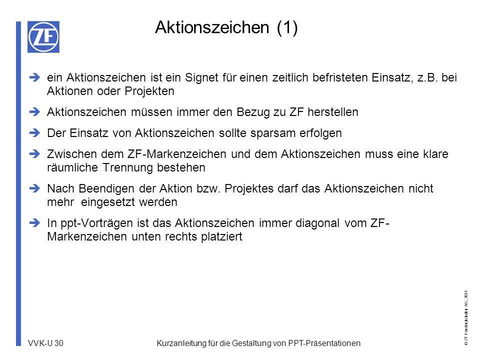 VVK-U 30 © ZF Friedrichshafen AG, 2011 Aktionszeichen (1) ein Aktionszeichen ist ein Signet für einen zeitlich befristeten Einsatz, z.B. bei Aktionen