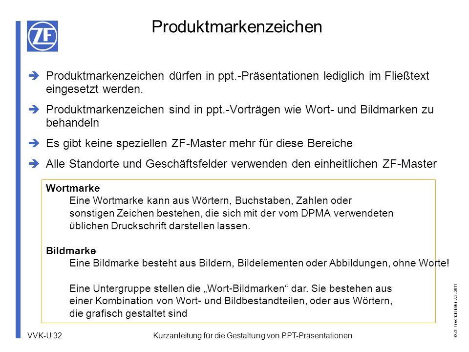 VVK-U 32 © ZF Friedrichshafen AG, 2011 Produktmarkenzeichen Produktmarkenzeichen dürfen in ppt.-Präsentationen lediglich im Fließtext eingesetzt werde