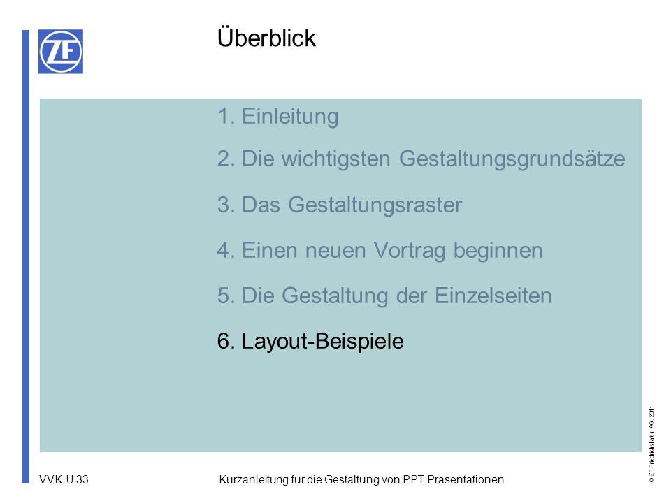 VVK-U 33 © ZF Friedrichshafen AG, 2011 Kurzanleitung für die Gestaltung von PPT-Präsentationen 1. Einleitung 2. Die wichtigsten Gestaltungsgrundsätze