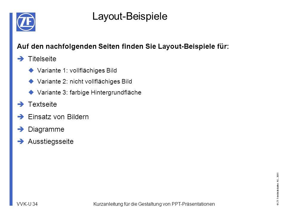 VVK-U 34 © ZF Friedrichshafen AG, 2011 Kurzanleitung für die Gestaltung von PPT-Präsentationen Layout-Beispiele Auf den nachfolgenden Seiten finden Si