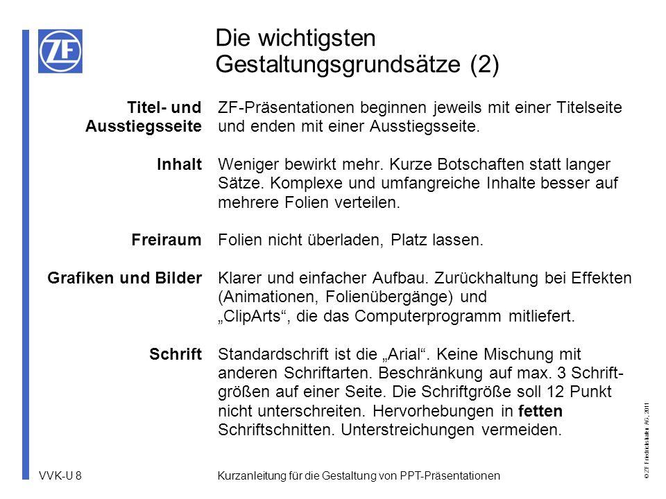 VVK-U 9 © ZF Friedrichshafen AG, 2011 Kurzanleitung für die Gestaltung von PPT-Präsentationen Farben Beispiele Farbe dient der Verdeutlichung von Inhalten, deshalb ein sparsamer Einsatz im Farbklima von ZF.