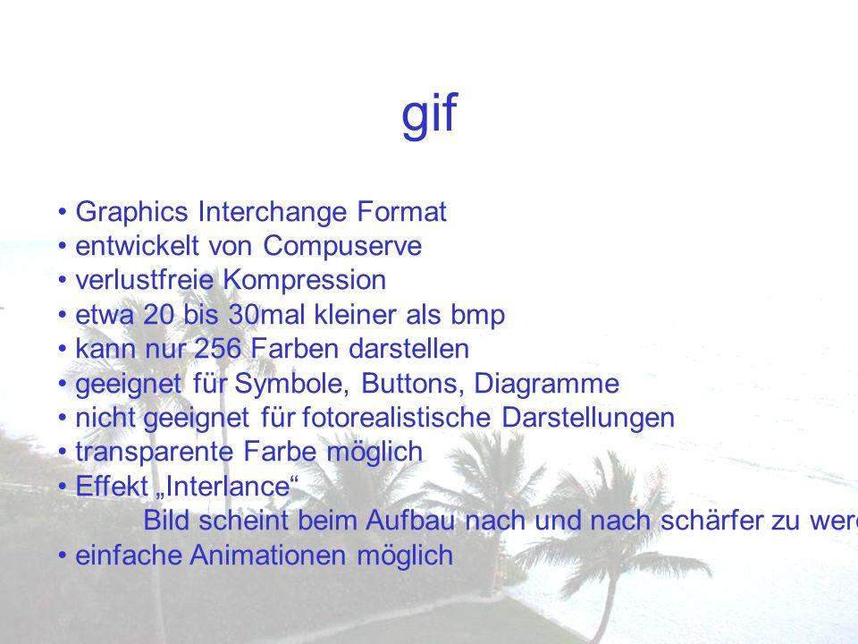 gif Graphics Interchange Format entwickelt von Compuserve verlustfreie Kompression etwa 20 bis 30mal kleiner als bmp kann nur 256 Farben darstellen ge
