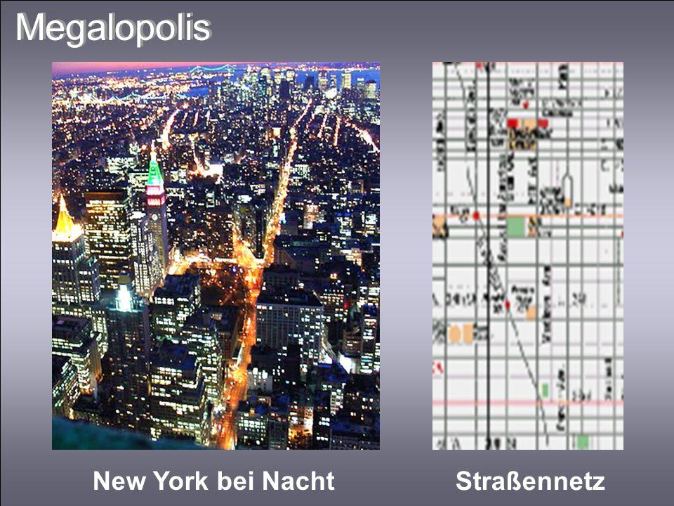 Megalopolis New York bei Nacht Straßennetz