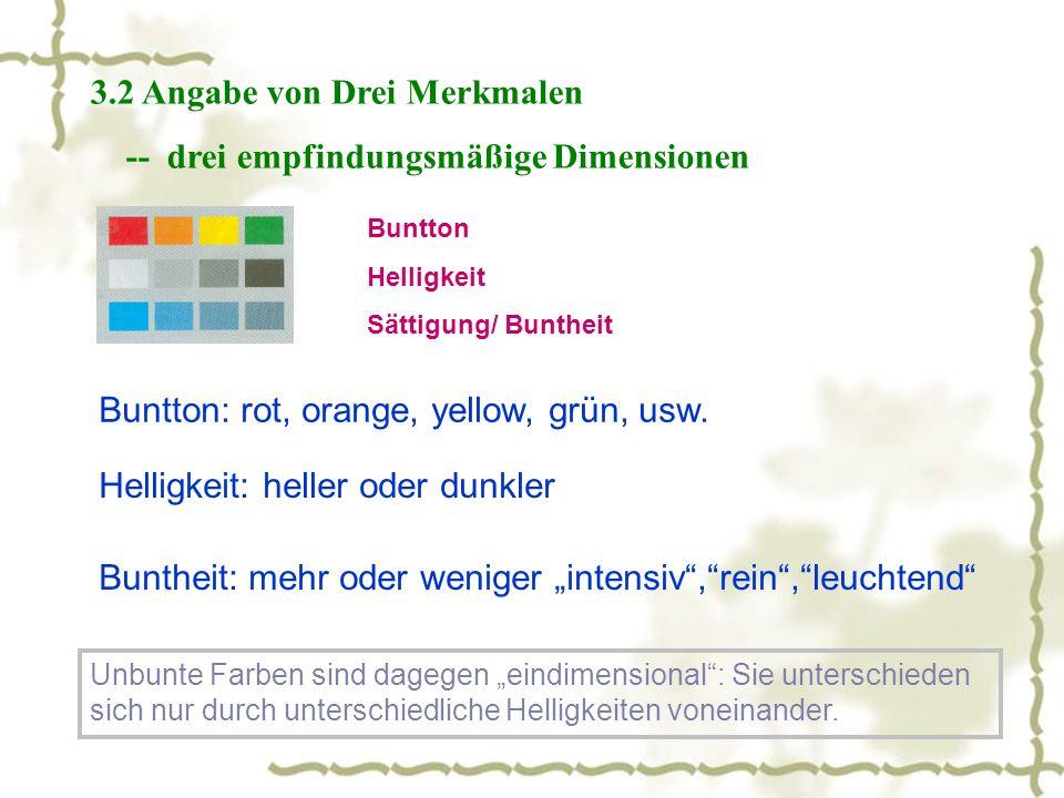 3.2 Angabe von Drei Merkmalen -- drei empfindungsmäßige Dimensionen Buntton Helligkeit Sättigung/ Buntheit Buntton: rot, orange, yellow, grün, usw.