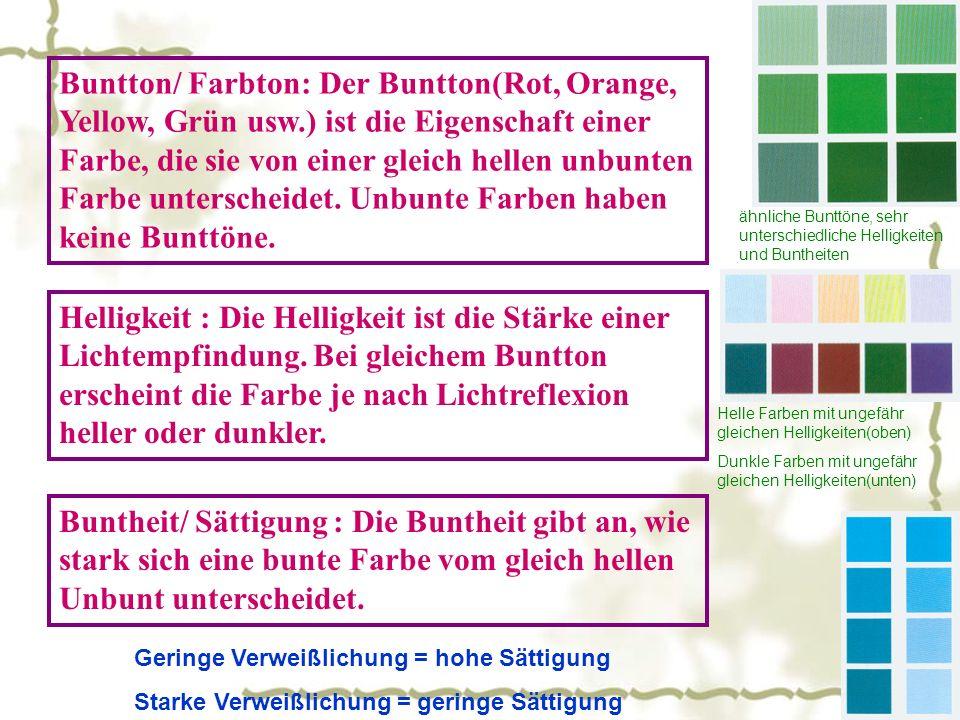 Buntton/ Farbton: Der Buntton(Rot, Orange, Yellow, Grün usw.) ist die Eigenschaft einer Farbe, die sie von einer gleich hellen unbunten Farbe unterscheidet.