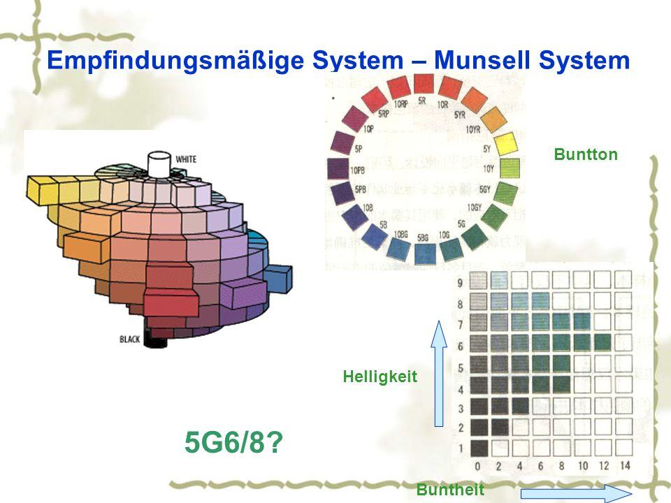 Empfindungsmäßige System – Munsell System Helligkeit Buntheit 5G6/8? Buntton