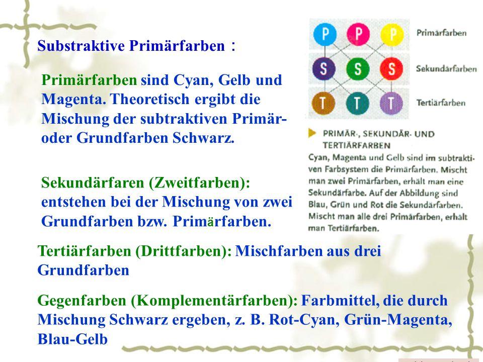 Primärfarben sind Cyan, Gelb und Magenta. Theoretisch ergibt die Mischung der subtraktiven Primär- oder Grundfarben Schwarz. Substraktive Primärfarben