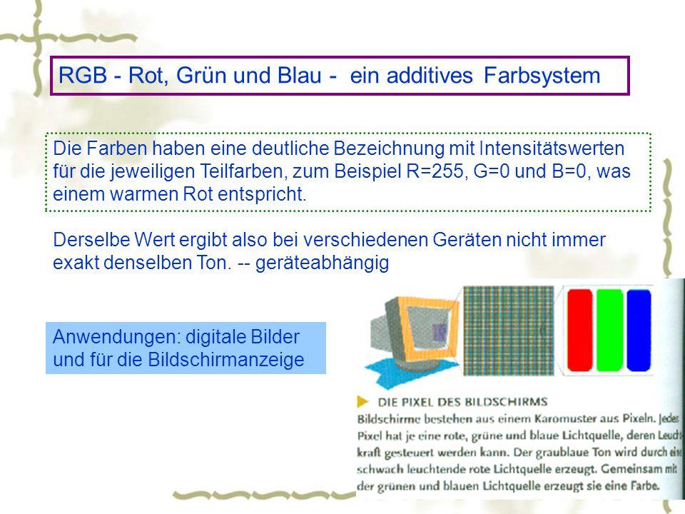 RGB - Rot, Grün und Blau - ein additives Farbsystem Die Farben haben eine deutliche Bezeichnung mit Intensitätswerten für die jeweiligen Teilfarben, z