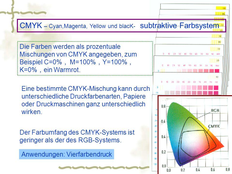 CMYK – Cyan,Magenta, Yellow und blacK- subtraktive Farbsystem Die Farben werden als prozentuale Mischungen von CMYK angegeben, zum Beispiel C=0% M=100