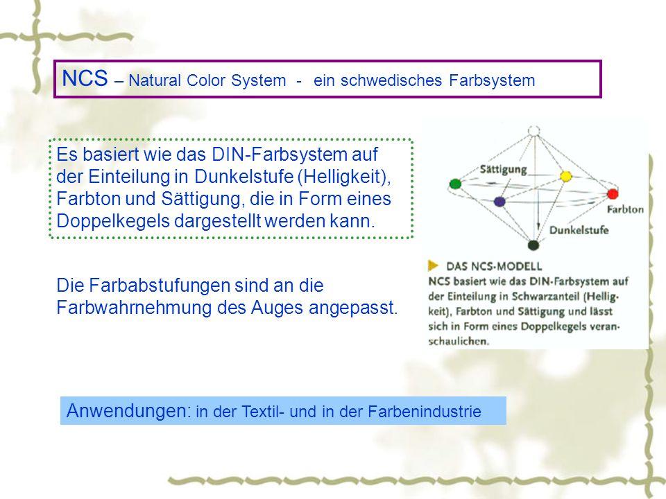 NCS – Natural Color System - ein schwedisches Farbsystem Es basiert wie das DIN-Farbsystem auf der Einteilung in Dunkelstufe (Helligkeit), Farbton und