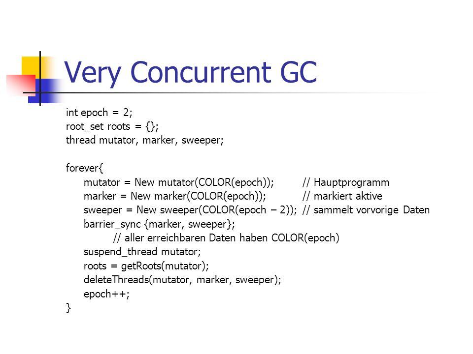 Very Concurrent GC int epoch = 2; root_set roots = {}; thread mutator, marker, sweeper; forever{ mutator = New mutator(COLOR(epoch));// Hauptprogramm marker = New marker(COLOR(epoch));// markiert aktive sweeper = New sweeper(COLOR(epoch – 2));// sammelt vorvorige Daten barrier_sync {marker, sweeper}; // aller erreichbaren Daten haben COLOR(epoch) suspend_thread mutator; roots = getRoots(mutator); deleteThreads(mutator, marker, sweeper); epoch++; }