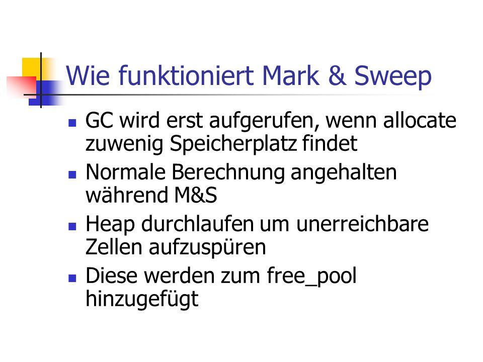 Wie funktioniert Mark & Sweep GC wird erst aufgerufen, wenn allocate zuwenig Speicherplatz findet Normale Berechnung angehalten während M&S Heap durchlaufen um unerreichbare Zellen aufzuspüren Diese werden zum free_pool hinzugefügt