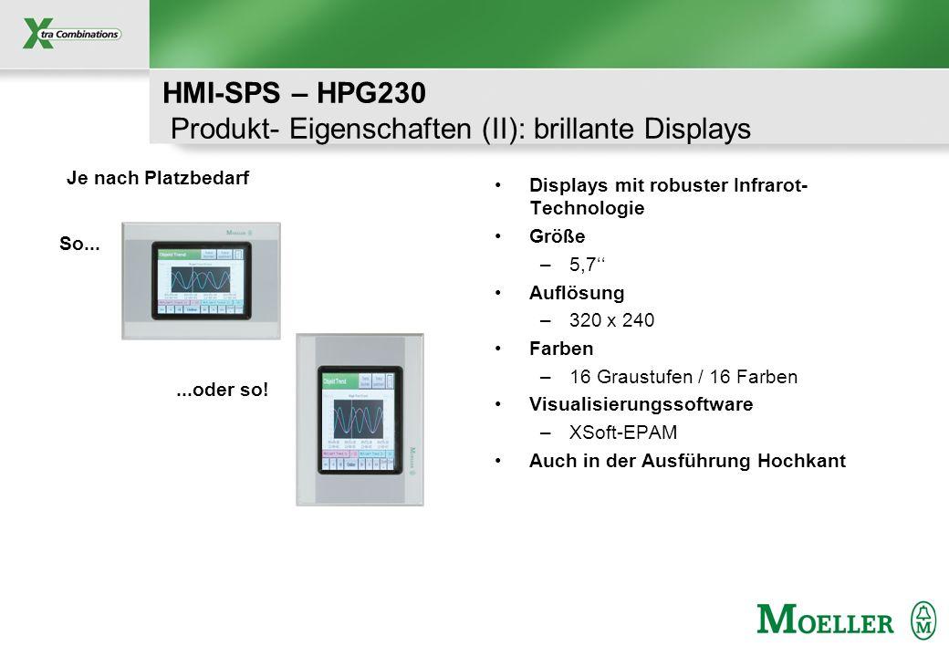 Schutzvermerk nach DIN 34 beachten HMI-SPS – HPG230 Produkt- Eigenschaften (II): brillante Displays Displays mit robuster Infrarot- Technologie Größe