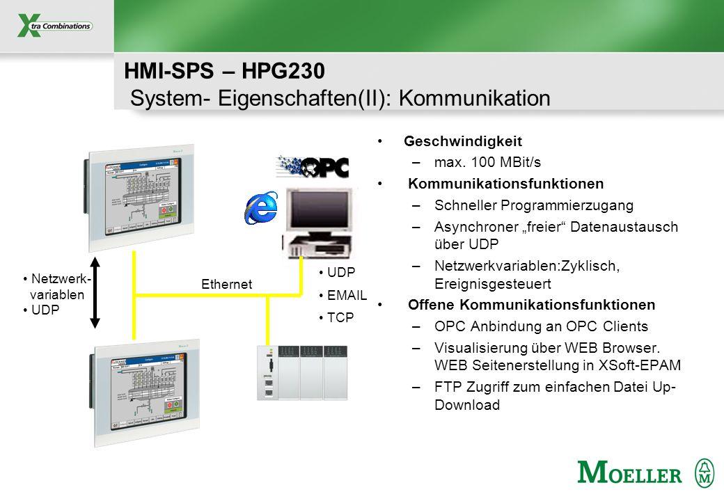 Schutzvermerk nach DIN 34 beachten HMI-SPS – HPG230 System- Eigenschaften(II): Kommunikation Geschwindigkeit –max. 100 MBit/s Kommunikationsfunktionen