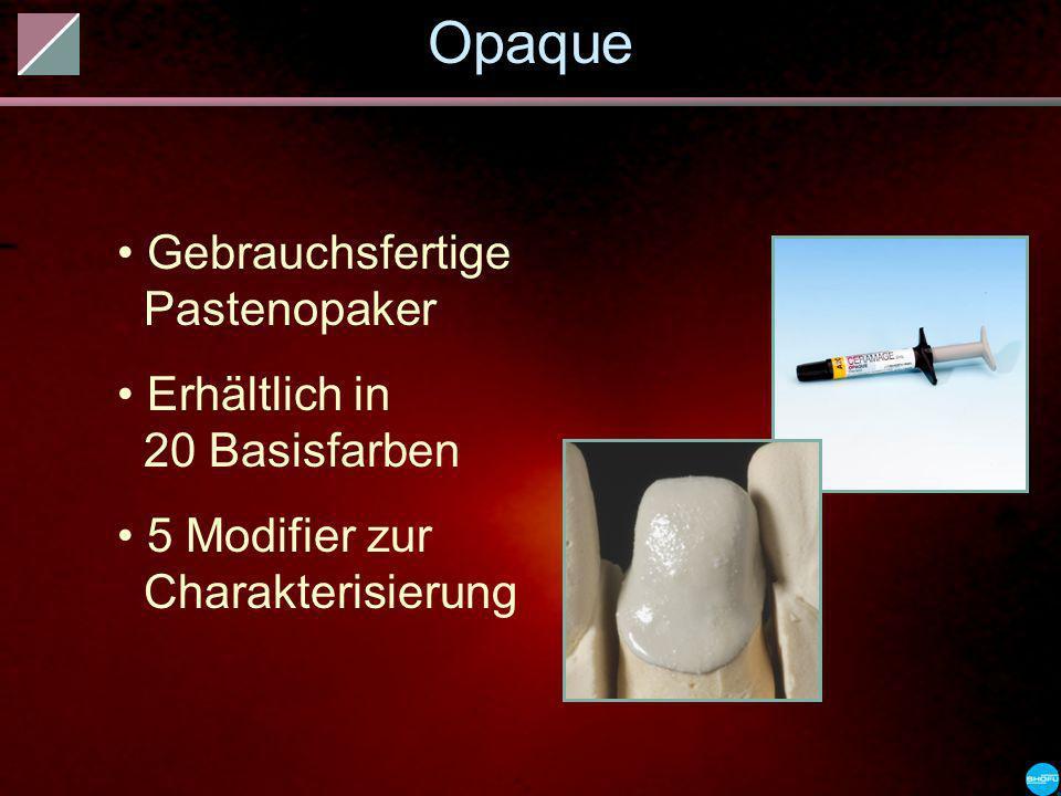 Opaque Gebrauchsfertige Pastenopaker Erhältlich in 20 Basisfarben 5 Modifier zur Charakterisierung