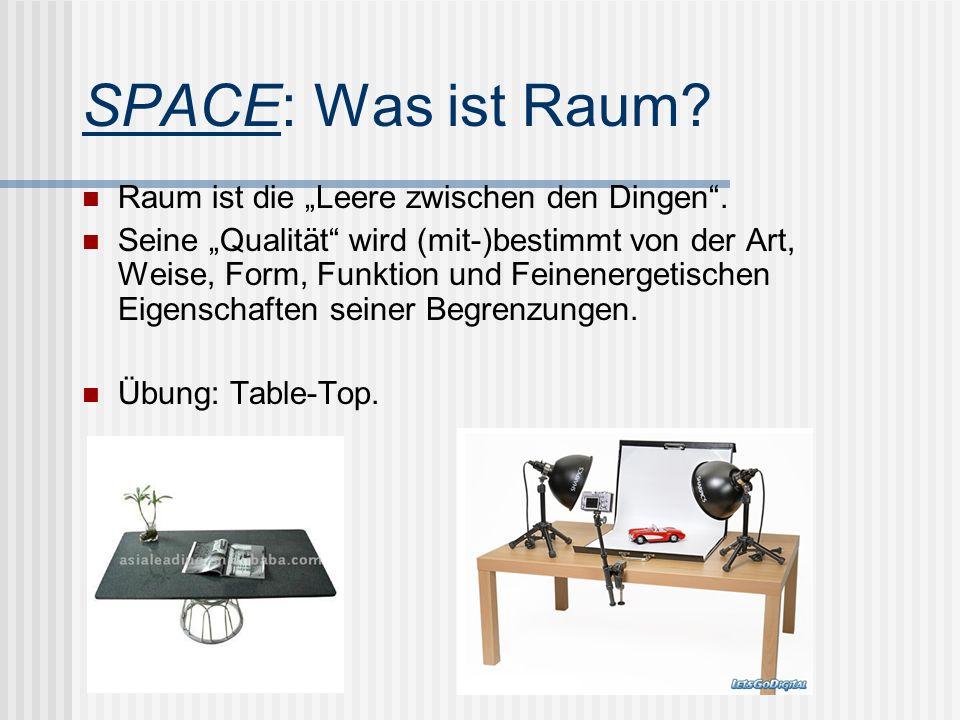 SPACE: Was ist Raum? Raum ist die Leere zwischen den Dingen. Seine Qualität wird (mit-)bestimmt von der Art, Weise, Form, Funktion und Feinenergetisch