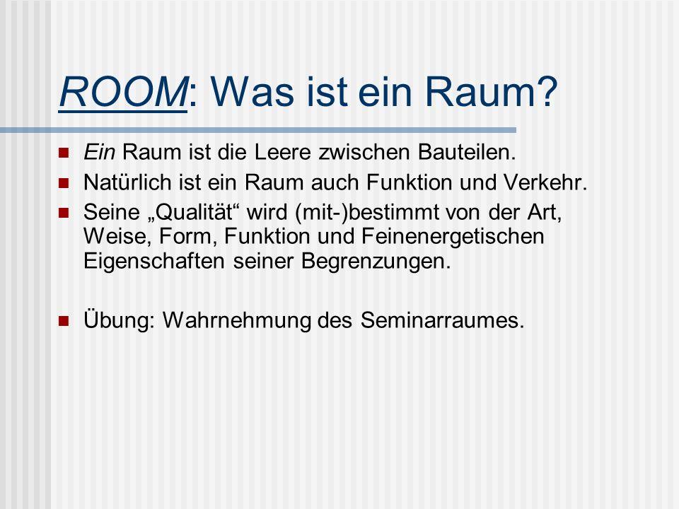 ROOM: Was ist ein Raum? Ein Raum ist die Leere zwischen Bauteilen. Natürlich ist ein Raum auch Funktion und Verkehr. Seine Qualität wird (mit-)bestimm