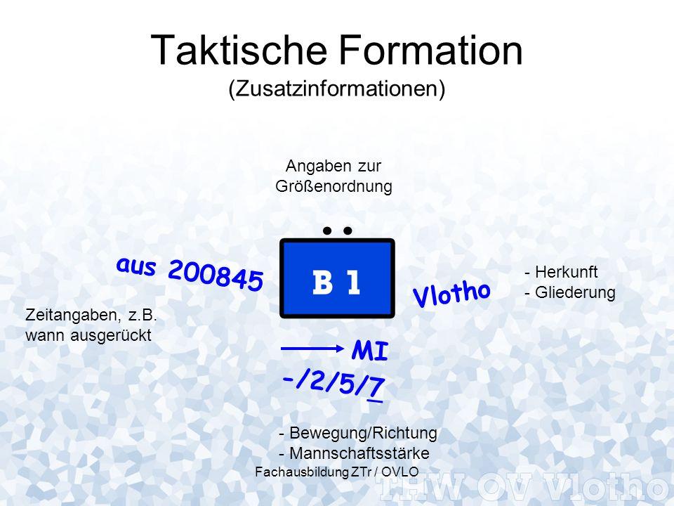 Fachausbildung ZTr / OVLO Taktische Formation (Zusatzinformationen) Vlotho -/2/5/7 MI aus 200845 Angaben zur Größenordnung - Herkunft - Gliederung - B