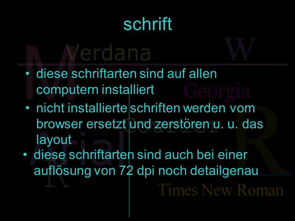 schrift embedded fonts bieten die möglichkeit schriftarten in html einzubinden und somit mit dem html-code zu übermitteln dazu sind spezielle programme erforderlich: true doc (bitstream) open type (adobe) weft (microsoft)microsoft