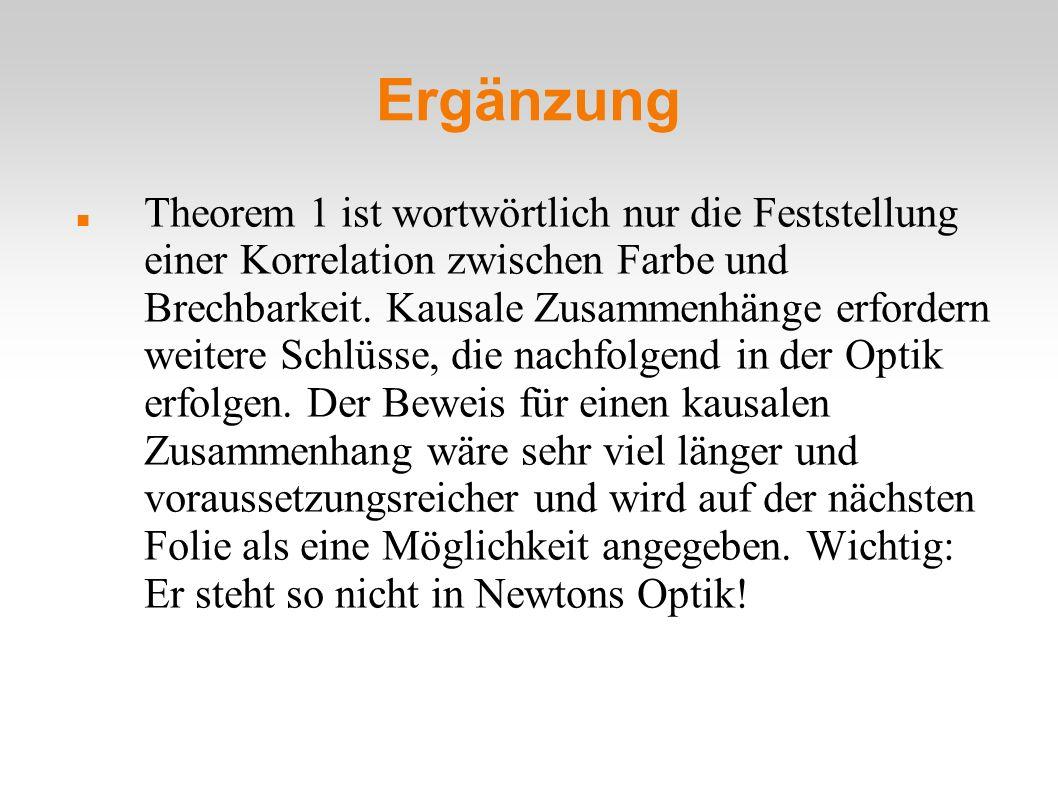 Ergänzung Theorem 1 ist wortwörtlich nur die Feststellung einer Korrelation zwischen Farbe und Brechbarkeit. Kausale Zusammenhänge erfordern weitere S