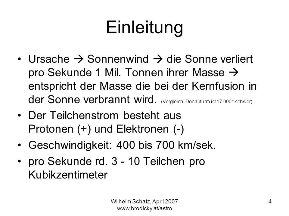 Wilhelm Schatz, April 2007 www.brodicky.at/astro 4 Einleitung Ursache Sonnenwind die Sonne verliert pro Sekunde 1 Mil. Tonnen ihrer Masse entspricht d