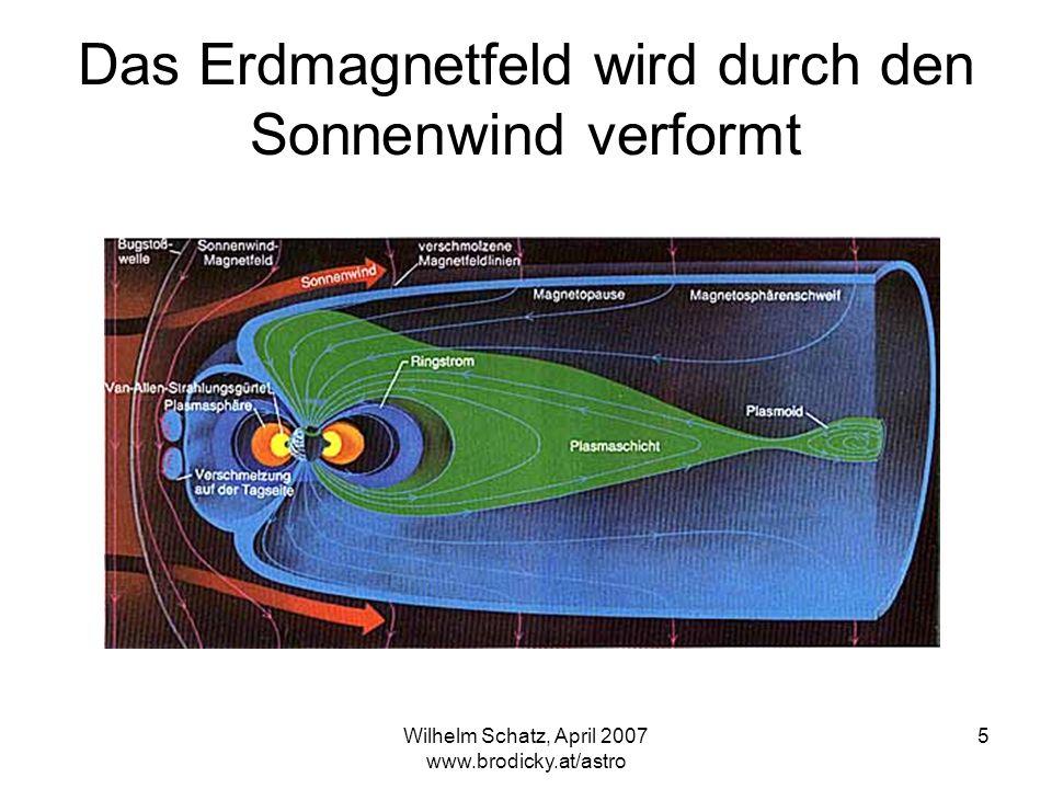 Wilhelm Schatz, April 2007 www.brodicky.at/astro 5 Das Erdmagnetfeld wird durch den Sonnenwind verformt