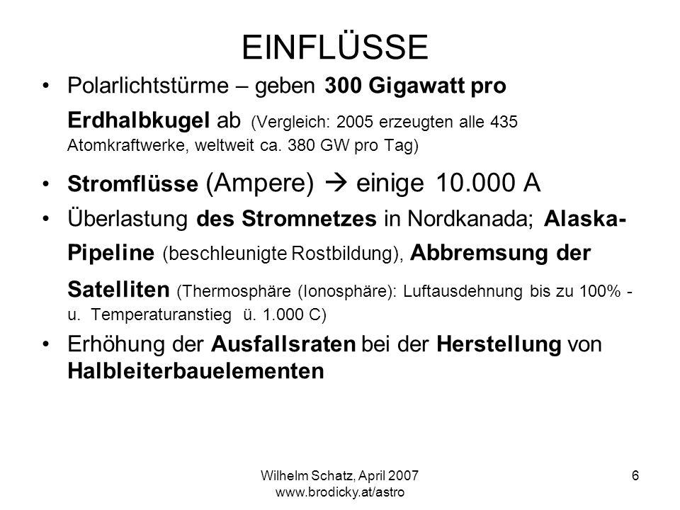 Wilhelm Schatz, April 2007 www.brodicky.at/astro 6 EINFLÜSSE Polarlichtstürme – geben 300 Gigawatt pro Erdhalbkugel ab (Vergleich: 2005 erzeugten alle