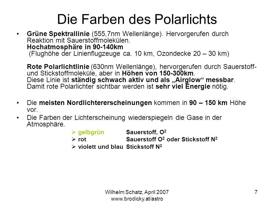 Wilhelm Schatz, April 2007 www.brodicky.at/astro 7 Die Farben des Polarlichts Grüne Spektrallinie (555,7nm Wellenlänge). Hervorgerufen durch Reaktion