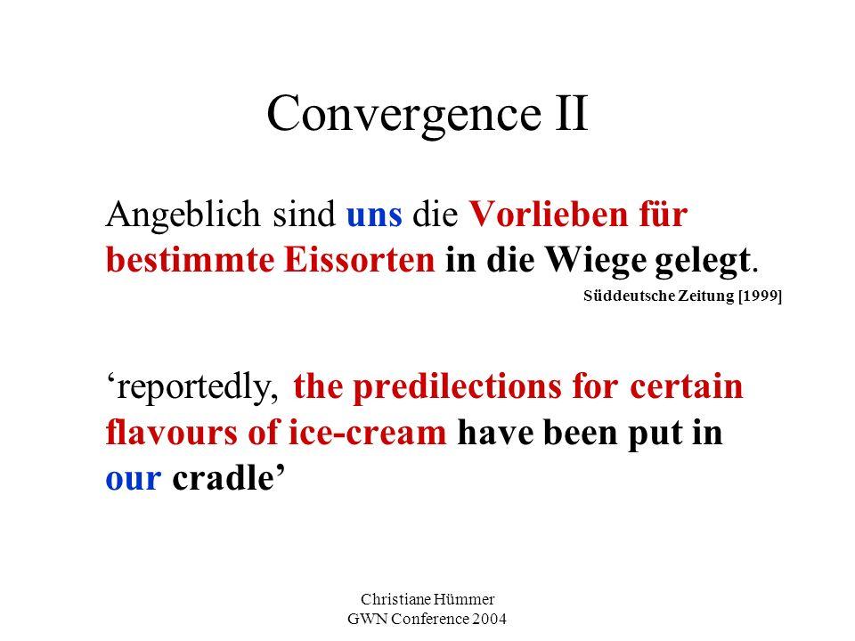 Christiane Hümmer GWN Conference 2004 Convergence II Angeblich sind uns die Vorlieben für bestimmte Eissorten in die Wiege gelegt.
