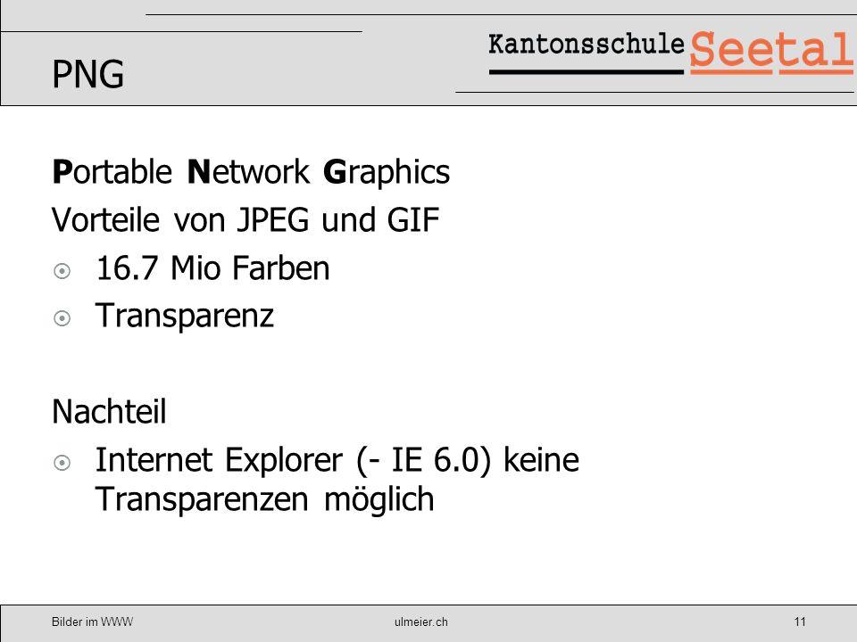 Bilder im WWWulmeier.ch12 Bilder optimieren Programme Irfan View Microsoft Office Picture Manager Photoshop Elements Gimp Photoshop Weitere……