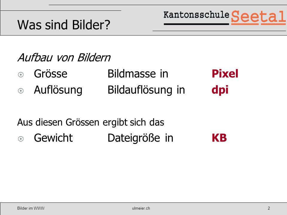 Bilder im WWWulmeier.ch3 Grösse Verwendungszweck Layout Aussage Bildschirmgrösse Ideal für Website (1/4 Seite) 400*500px