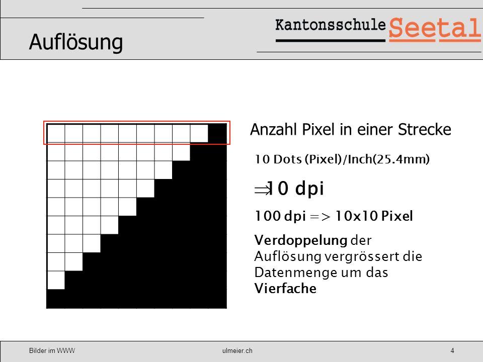 Bilder im WWWulmeier.ch5 BILDAUFLÖSUNG Bildschirmdarstellung Ein Bildschirm kann in der Regel eine Auflösung von 72 dpi wiedergeben Eine höhere Auflösung bringt ausser einer unnötig grossen Datenmenge keine Qualitätsverbesserung